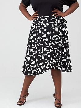 V by Very Curve V By Very Curve Ruffle Front Print Skirt - Monochrome Picture