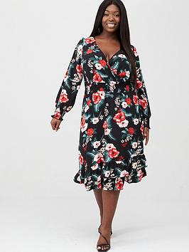 V by Very Curve V By Very Curve Shirred Waist Wrap Dress - Print Picture