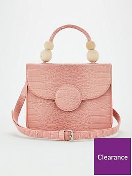 v-by-very-pelle-wooden-bead-handle-cross-body-bag-pink