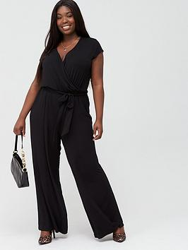 V by Very Curve V By Very Curve Jersey Wide Leg Jumpsuit - Black Picture