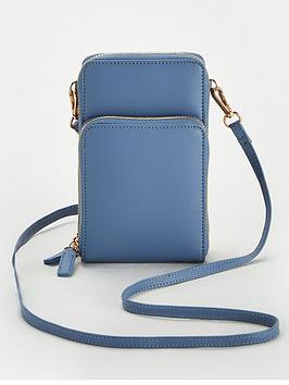 V by Very V By Very Pia North South Double Pocket Cross Body Bag - Blue