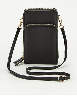 V By Very Pia North South Double Pocket Cross Body