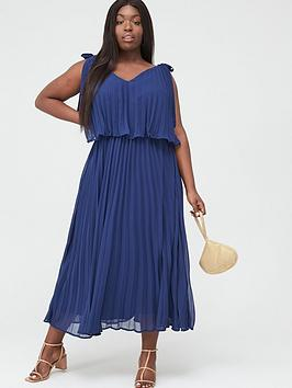 V by Very Curve V By Very Curve Tiered Pleated Chiffon Midi Dress - Navy Picture