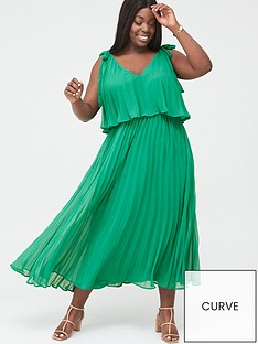 v-by-very-curve-tiered-pleated-chiffon-midi-dress-green