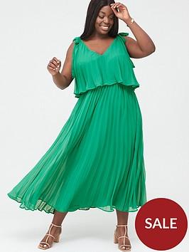 v-by-very-curve-tiered-pleated-chiffon-midi-dress-green