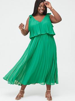 V by Very Curve V By Very Curve Tiered Pleated Chiffon Midi Dress - Green Picture