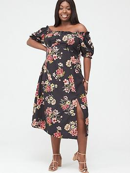 V by Very Curve V By Very Curve Bardot Midi Dress - Black Floral Picture