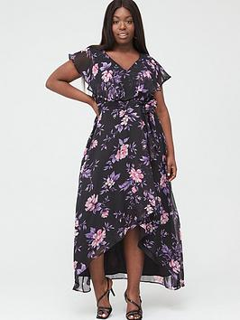 V by Very Curve V By Very Curve Cape Sleeve Midi Dress - Purple Floral Picture