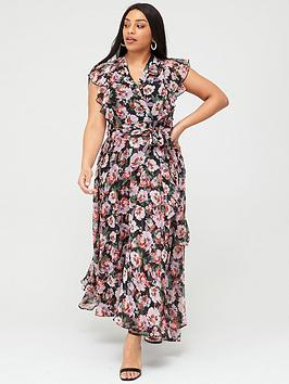 V by Very Curve V By Very Curve Ruffle Printed Maxi Dress - Print Picture