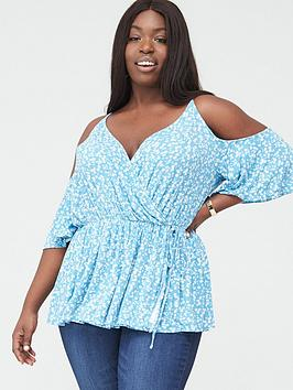 V by Very Curve V By Very Curve Cold Shoulder Elasticated Waist Top -  ... Picture
