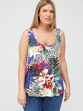 V by Very Curve V By Very Curve Cami Swing Vest - Blue Floral Picture