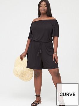v-by-very-curve-jersey-bardot-playsuit-black