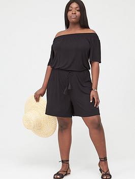 V by Very Curve V By Very Curve Jersey Bardot Playsuit - Black Picture