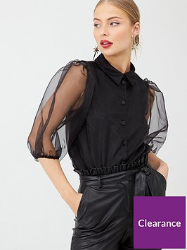 v-by-very-organza-button-through-shirt-black