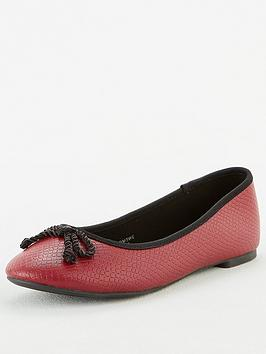V by Very V By Very Mariah Round Toe Ballerina - Red Picture