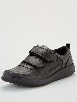 Clarks Clarks Boys Youth Scape Flare School Shoes - Black Leather Picture
