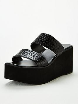 V by Very V By Very Delight Twin Strap Mule Wedge Sandal - Black Picture