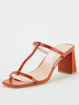 V by Very V By Very Bo Vinyl Strap Heeled Mule Sandal - Rust Picture