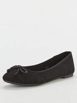 V by Very V By Very Mariah Round Toe Ballerina Shoes - Black Picture