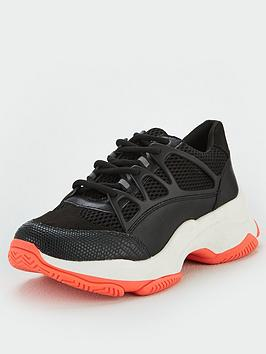 V by Very V By Very Adah Chunky Trainer With Neon Sole - Black Picture