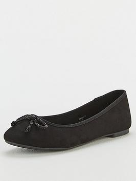 V by Very V By Very Maci Wide Fit Round Toe Ballerina - Black Picture