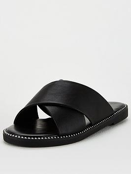 V by Very V By Very Hara Wide Fit Cross Strap Slider - Black Picture