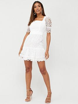 V By Very Square Neck A-Line Lace Dress - White