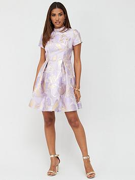 V by Very V By Very Metallic Jacquard A-Line Mini Dress - Print Picture