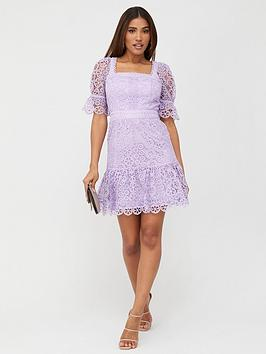 V by Very V By Very Square Neck A-Line Lace Dress - Lilac Picture