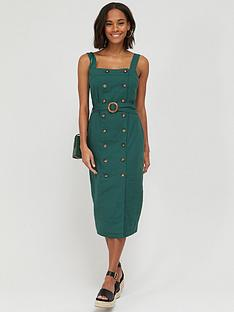 v-by-very-button-through-midi-pinny-linen-dress-green