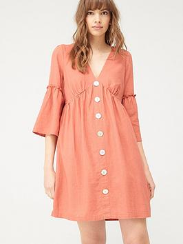 V by Very V By Very Linen Button Through Tunic - Red Picture