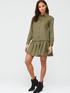 v-by-very-frill-mini-dress-khaki