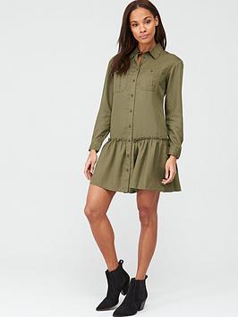 V by Very V By Very Frill Mini Dress - Khaki