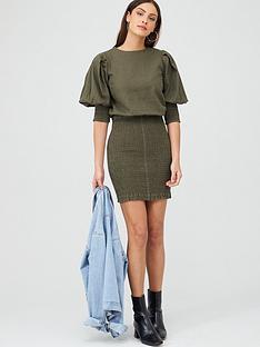 v-by-very-shirred-skirt-ruched-sleeve-linen-dress-khaki