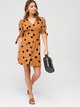 V by Very V By Very Tie Sleeve Linen Button Through Mini Dress - Print Picture