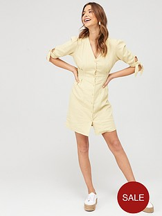 v-by-very-tie-sleeve-linen-button-through-mini-dress
