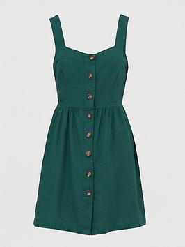 V by Very V By Very Button Through Mini Pinny Dress - Green Picture