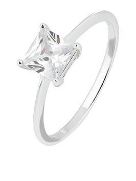 Accessorize    Princess Cut Cz Solitaire Ring