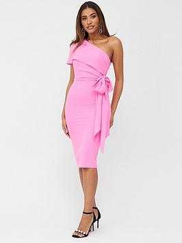 V by Very V By Very One Shoulder Structured Bodycon Dress - Pink Picture