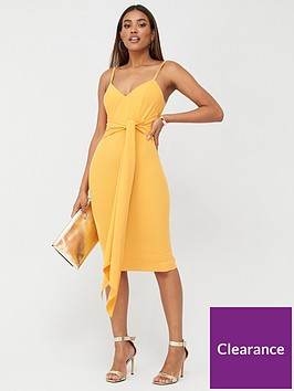 v-by-very-tie-waist-bodycon-orange