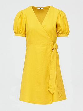 V by Very V By Very Linen Wrap Dress - Yellow Picture