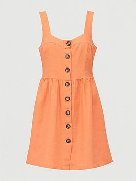 V by Very V By Very Button Through Mini Linen Mix Pinny Dress - Orange Picture