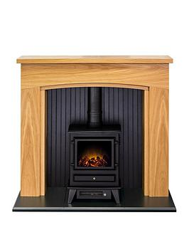 Adam Fires & Fireplaces   Adam Turin Stove Suite In Oak & Black With Hudson Electric Stove In Black