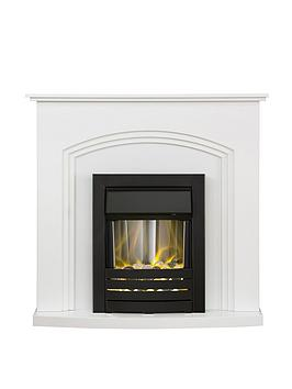 Adam Fires & Fireplaces   Adam Truro Fire Suite In Pure White With Helios Electric Fire In Black