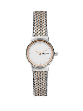 skagen Skagen Silver And Rose Gold Dial Two Tone Stainless Steel Mesh  ... Picture