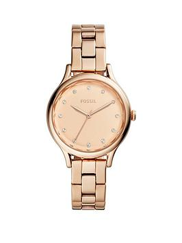 Fossil Fossil Fossil Rose Gold Sunray Dial Rose Gold Stainless Steel  ... Picture