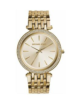 Michael Kors Michael Kors Michael Kors Gold Sunray Crystal Set Dial Gold  ... Picture