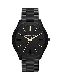 Michael Kors Michael Kors Michael Kors Black And Gold Detail Dial Black Ip  ... Picture