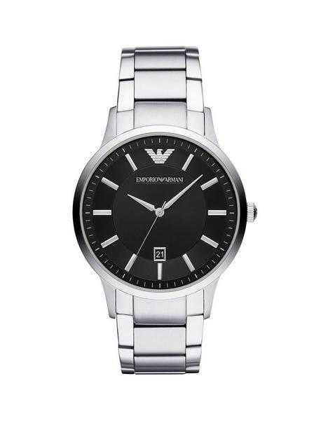 emporio-armani-black-dial-stainless-steel-bracelet-mens-watch