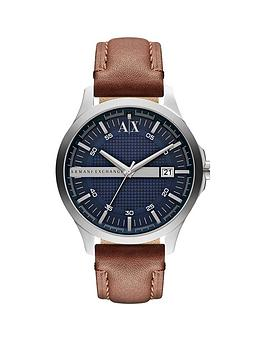 Armani Exchange Armani Exchange Armani Exchange Blue Date Dial Tan Leather  ... Picture